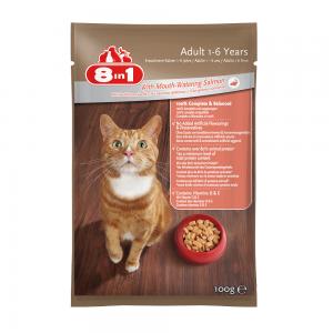 מזון רטוב (פאוץ') מלא ומאוזן לחתולים בוגרים עם דג סלמון